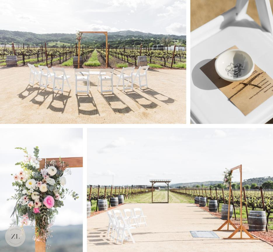 simple ceremony set up and arch for intimate vineyard wedding