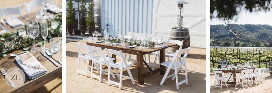 small table for intimate wedding set up for 10 people at the Blue Victorian wedding