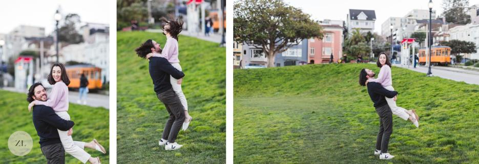 couple interacting playfully at fun Dolores Park san francisco engagement session