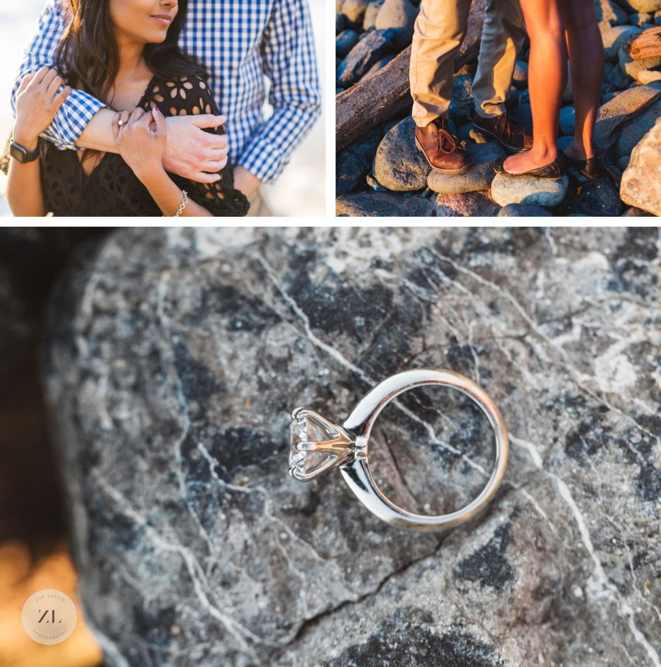 close up details from sweet, fun san francisco beach engagement session