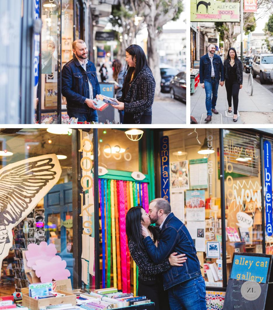 alley cat bookstore 24th street engagement session