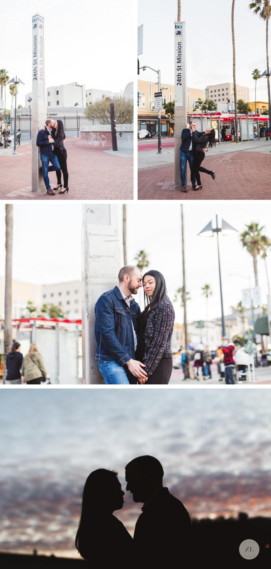 collage of 24th street mission bart engagement couples photos