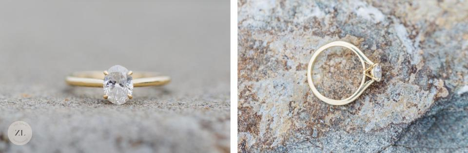 close up photos of engagement ring at lake merritt engagement shoot
