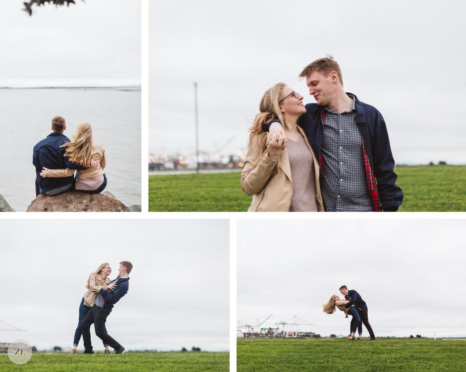 oakland engagement session at port view park with oakland skyline in background