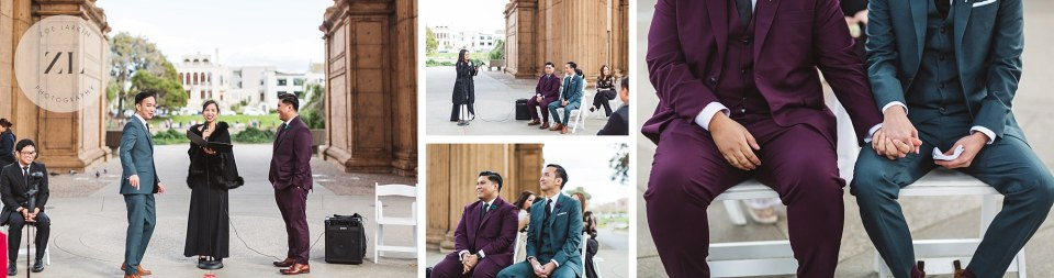 close ups from wedding ceremony at san francisco palace of fine arts wedding