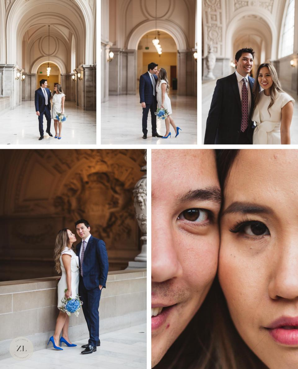 collage of vietnamese american couple on 4th floor of San Francisco City Hall at wedding