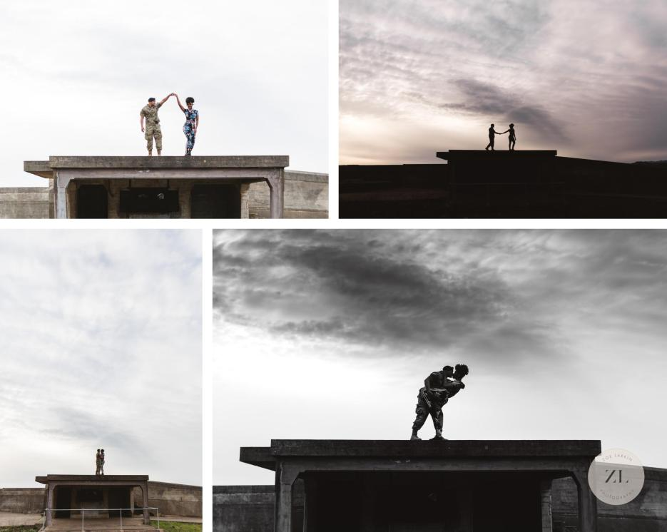 Battery godfrey couple standing on top of disused military buildings