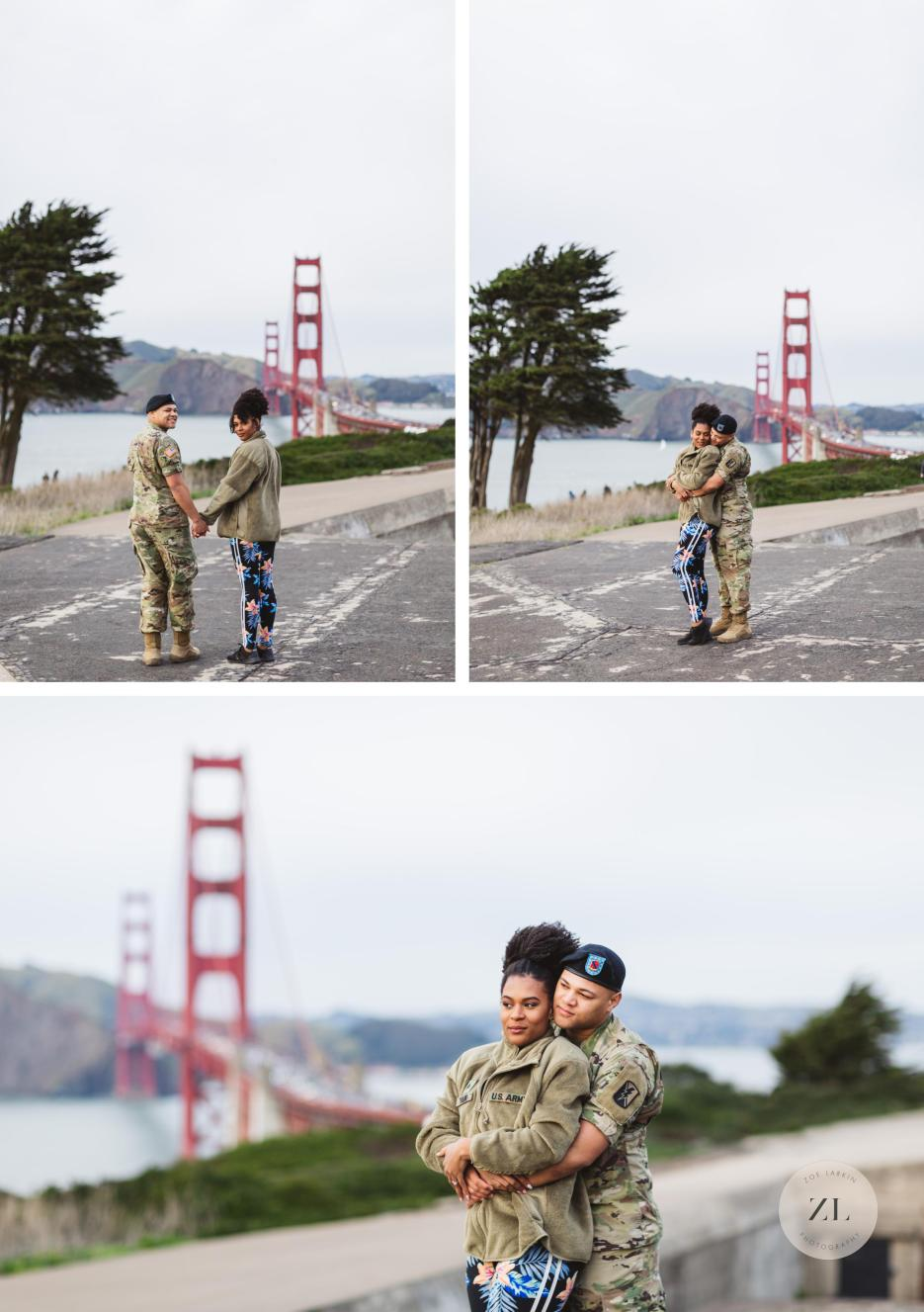 sweet couple at battery godfrey engagement shoot with Golden Gate Bridge in background