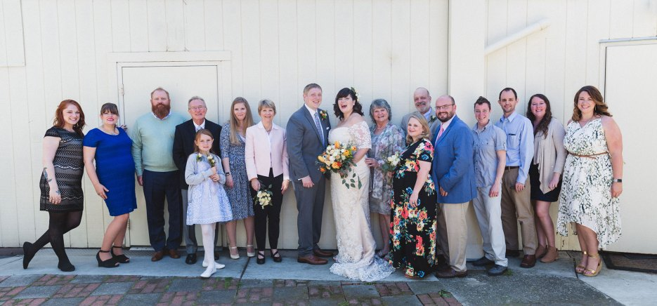 quirky oakland backyard wedding family portrait