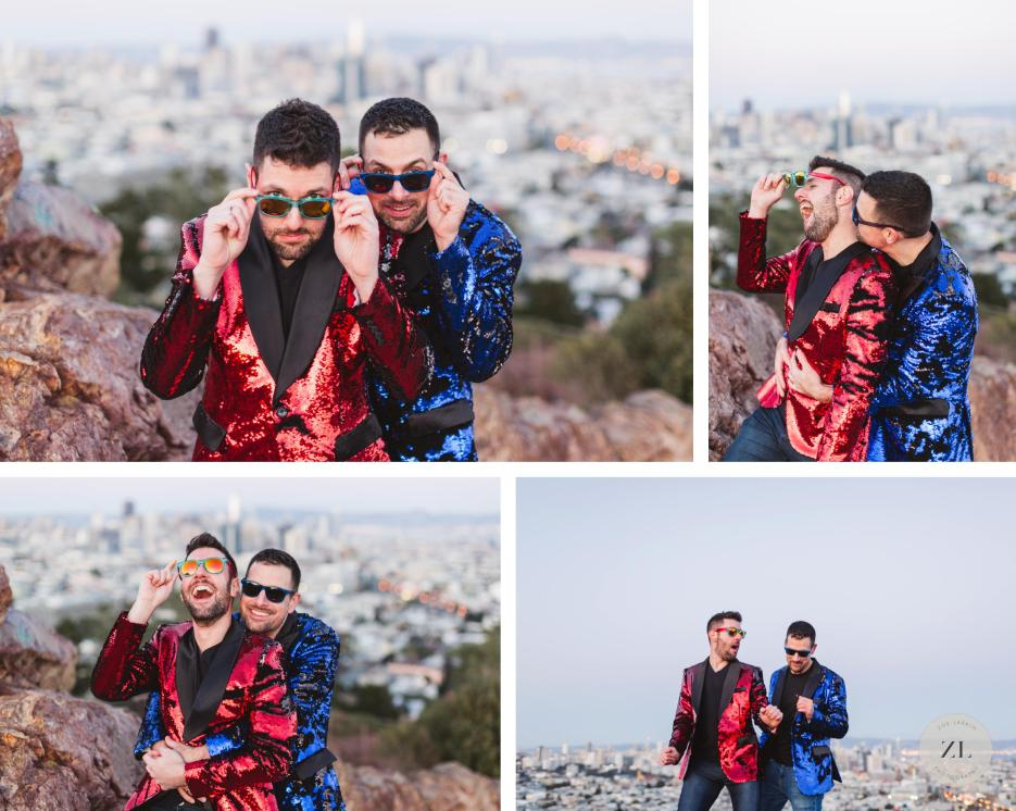 fun gay couple during their engagement shoot at corona heights park san francisco