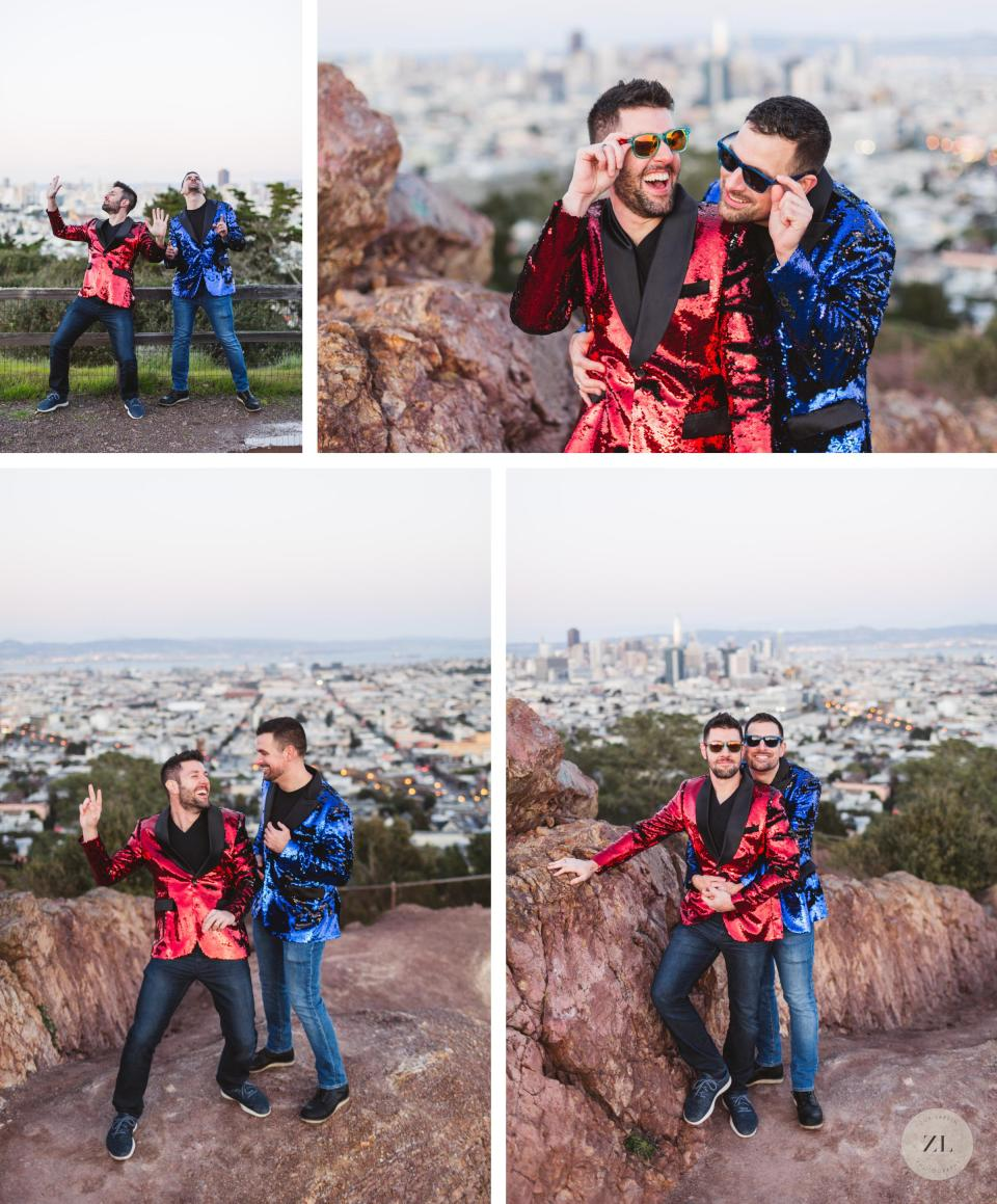 corona heights gay engagement shoot with guys in matching sequin jackets
