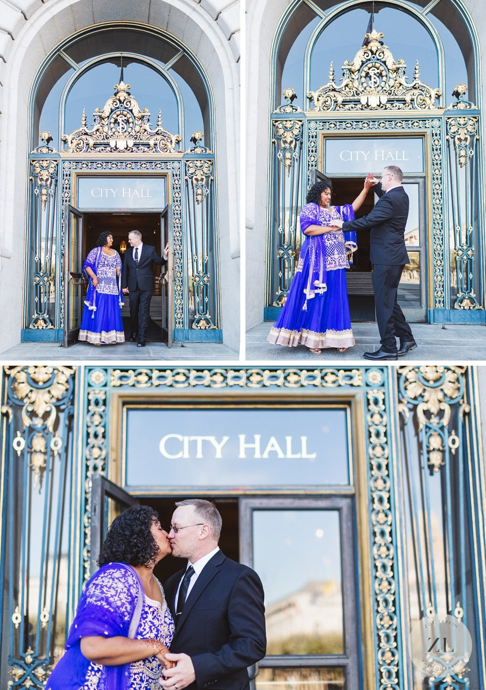 couple celebrating outside doors of city hall after wedding