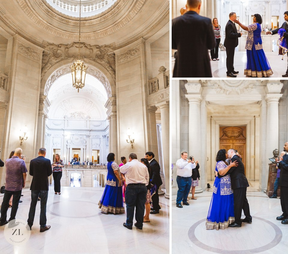 san francisco city hall wedding ceremony in rotunda first kiss