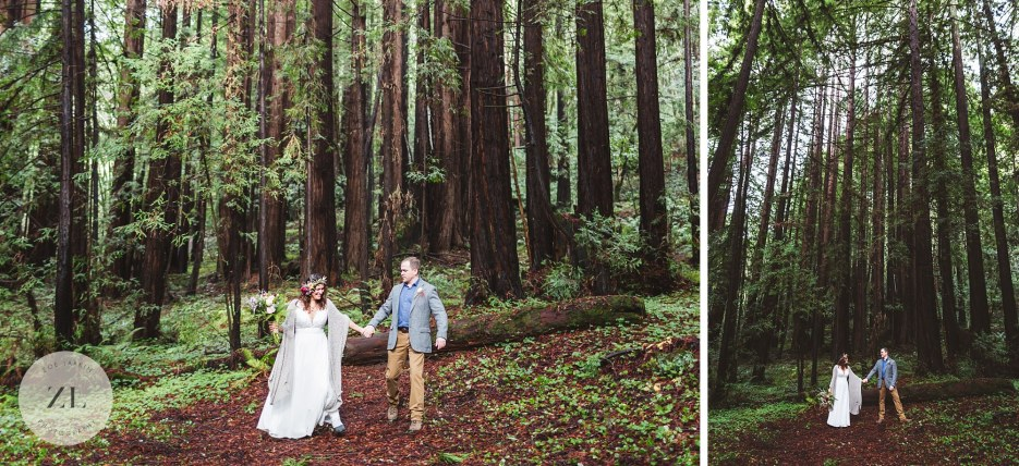 newlywed couples portraits among tall redwoods in aptos santa cruz county