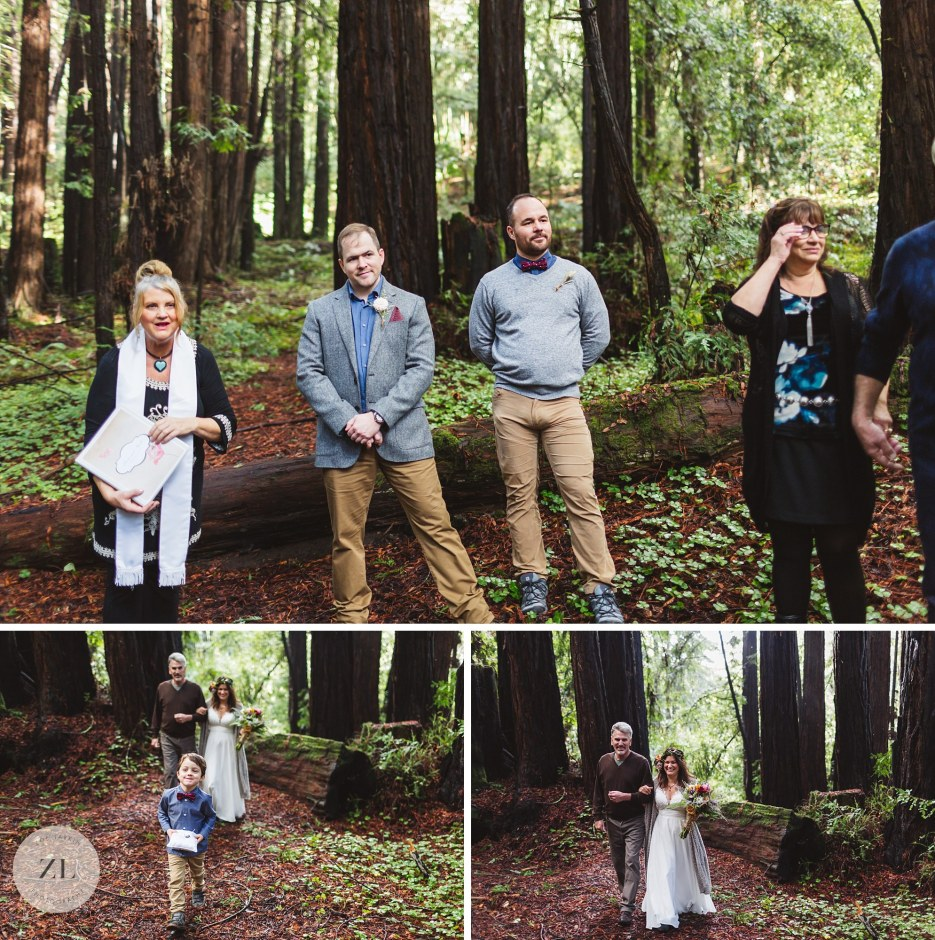 redwood wedding processional at forest of nicene marks santa cruz ca
