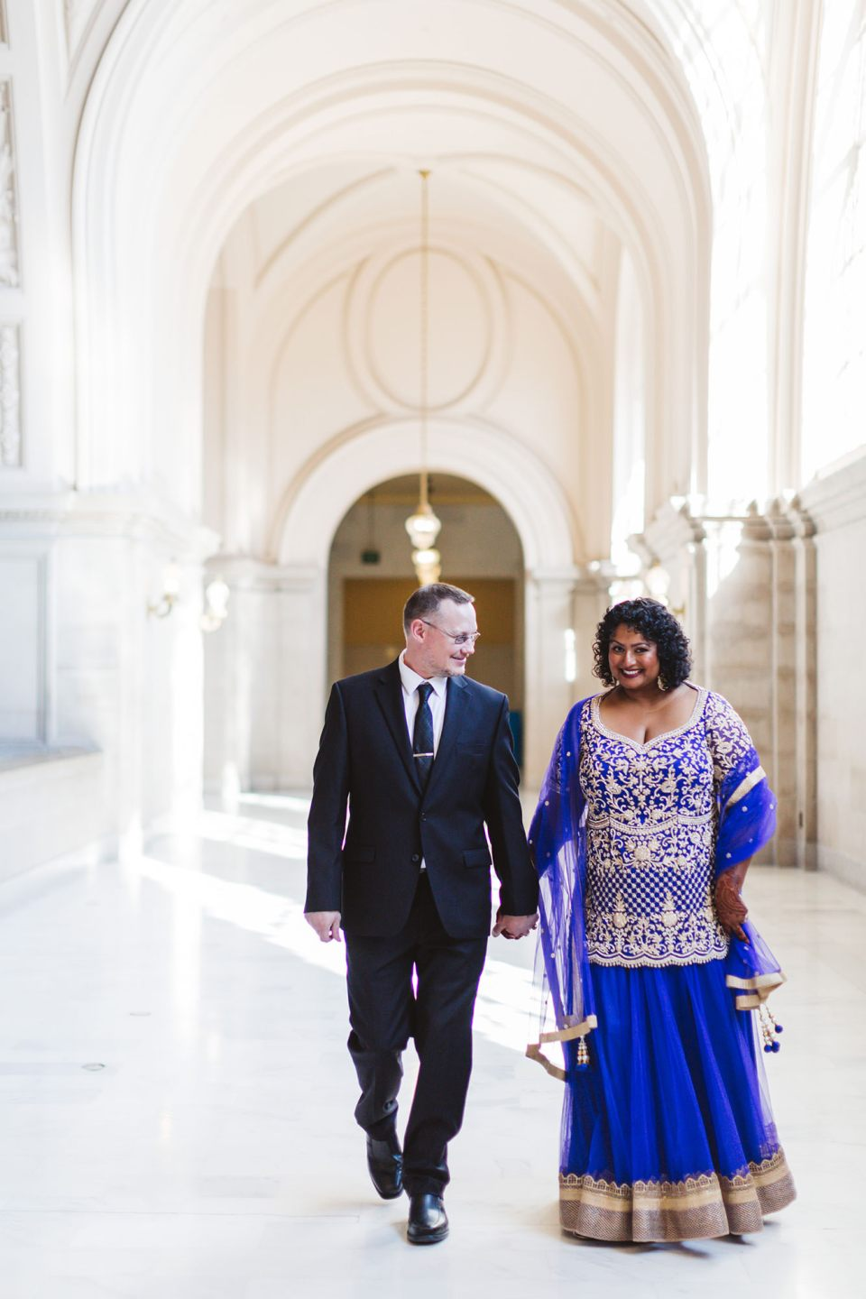 indian wedding at san francisco city hall couple with indian bride in lengha