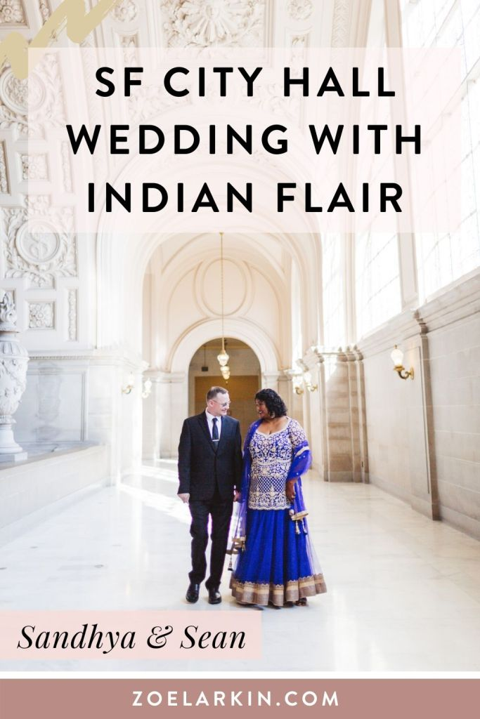 This San Francisco City Hall wedding had an Indian flavor! The bride is from an Indo Fijian background and honors her Indian heritage with her beautiful blue lengha. Sean, the groom, looks dapper in a black tie outfit. Together they rocked their City Hall wedding that was attended by close family. Later that week they celebrated more with a larger informal picnic reception. Get in touch if you're loooking for a SF City Hall wedding photographer with expert knowledge of the process! #indianwedding #sanfranciscocityhall #cityhallwedding #sfcityhall | Zoe Larkin Photography