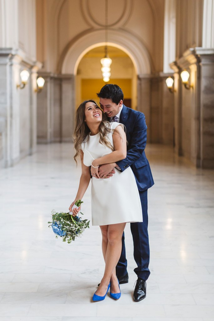 sweet romantic and modern wedding photo 4th floor light gallery San Francisco City Hall