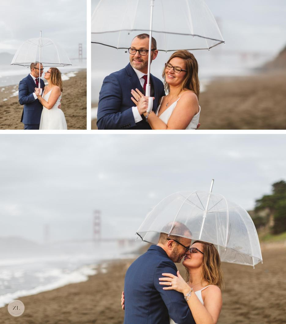 cute bride and groom with umbrella on the beach