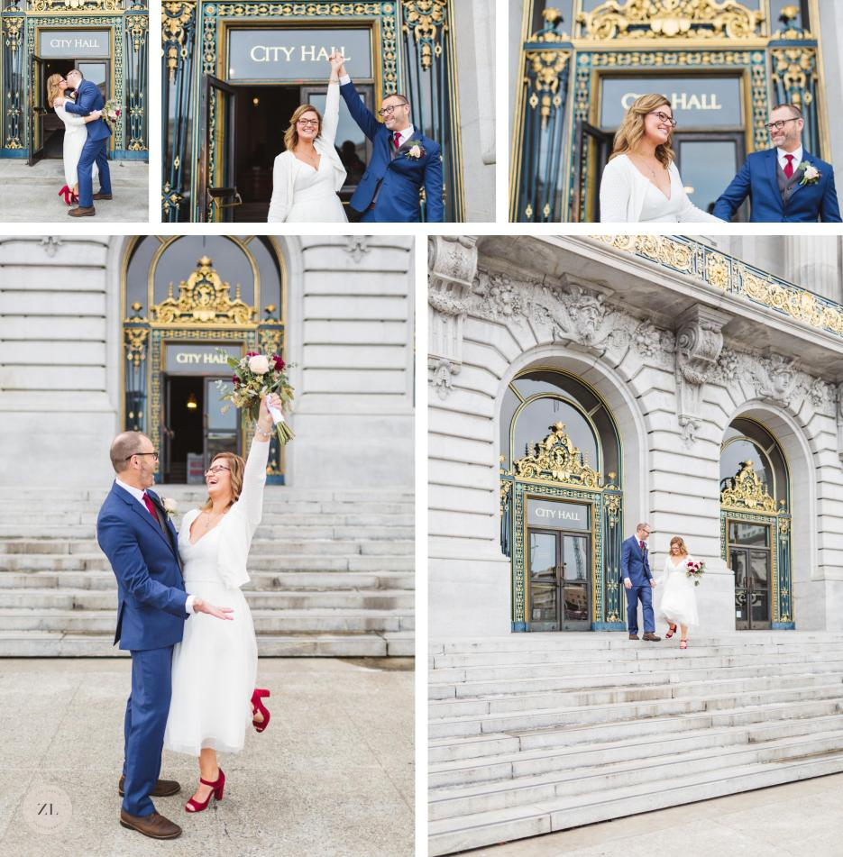 celebrating getting married at san francisco city hall iconic photo exiting building