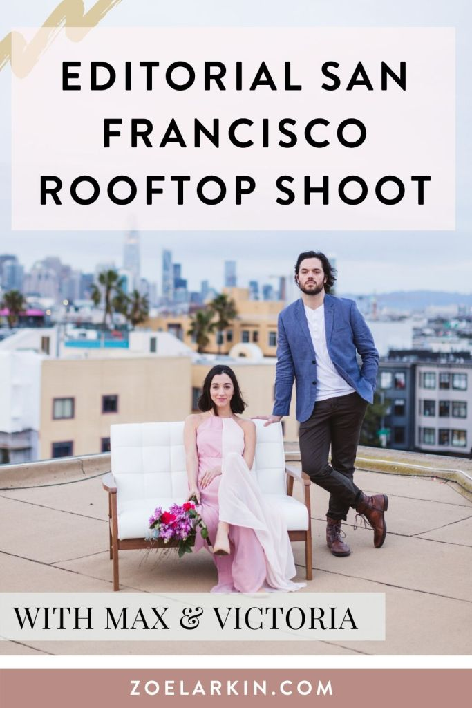 An editorial photoshoot featuring these two lovebirds on our rooftop in the Mission District, San Francisco! We had so much fun assembling the details for this photo shoot, and I even made the floral bouquet myself. Get inspiration for your couple's shoot or engagement photography with this twilight rooftop shoot with this uber stylish San Francisco couple | #sanfrancisco #lovephotography #engagementphotos | Zoe Larkin Photography