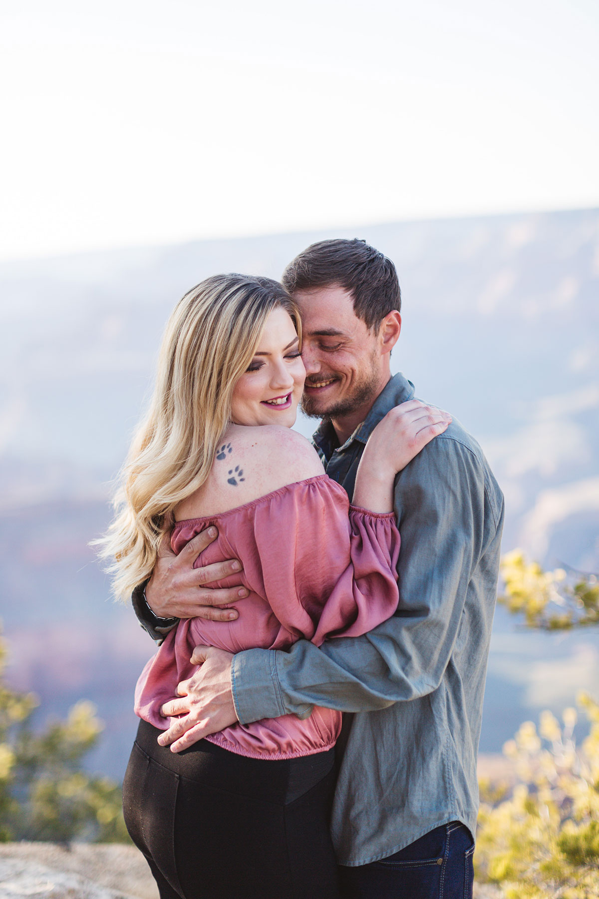 soft light grand canyon engaged couples photography