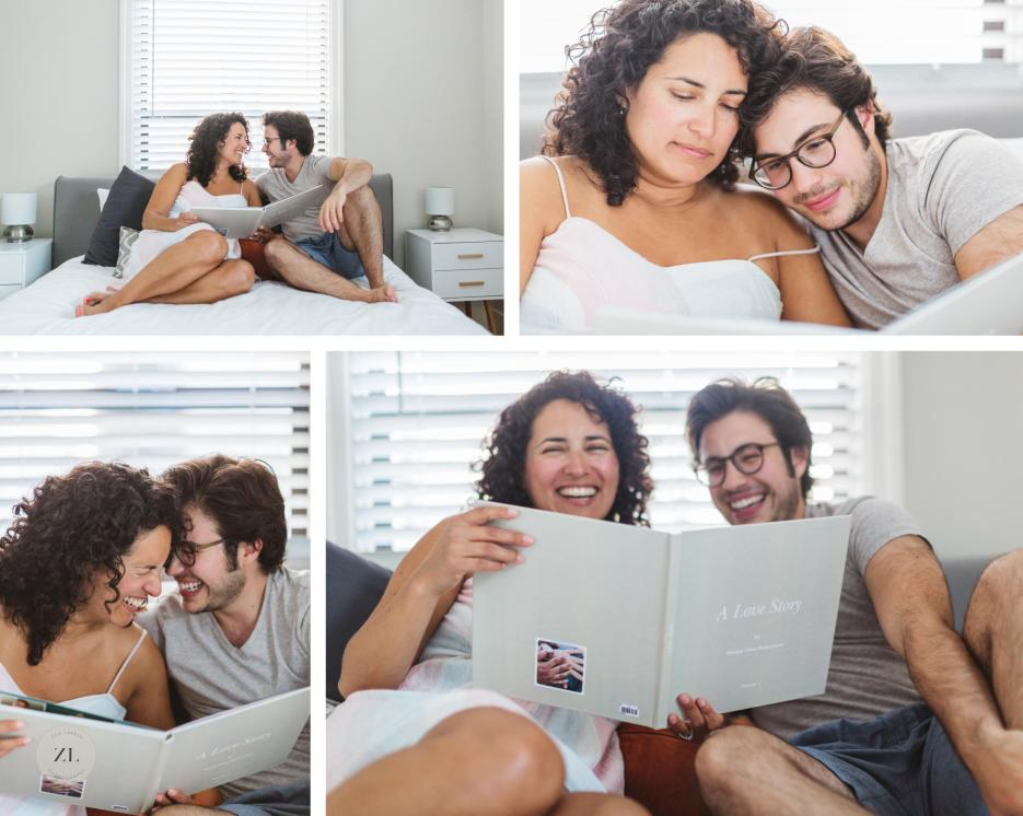 couple in bed laughing and reading a book about the story of them