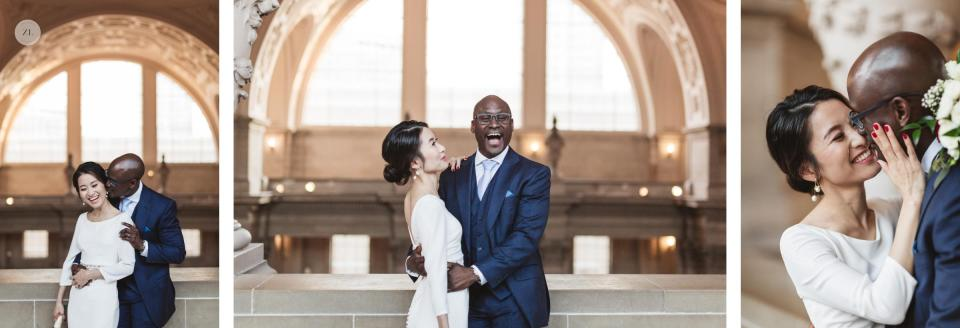 fun joyful relaxed & natural couples photography at san francisco city hall