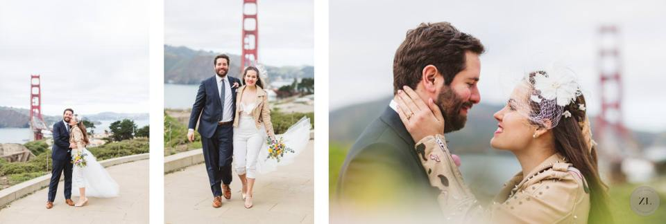 Wedding photos at the Golden Gate Overlook, located close to Marshall's Beach near the Battery to Bluffs trailhead