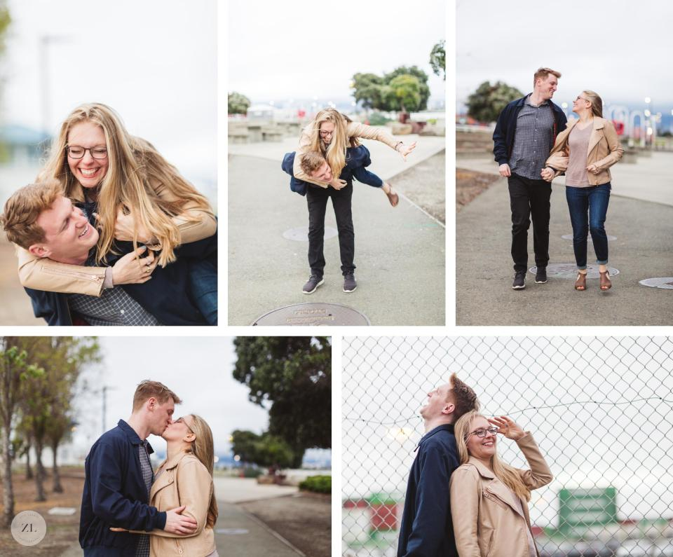 cute active engagement photo poses at oakland engagement session