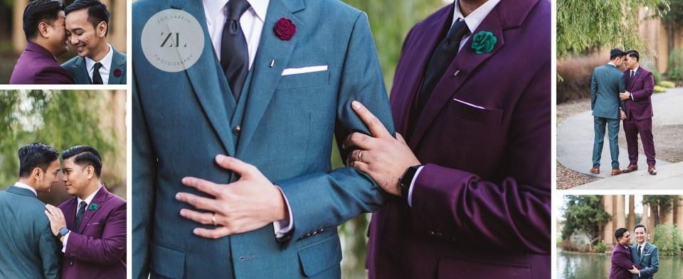 close ups from gay couple wedding photography at palace of fine arts san francisco