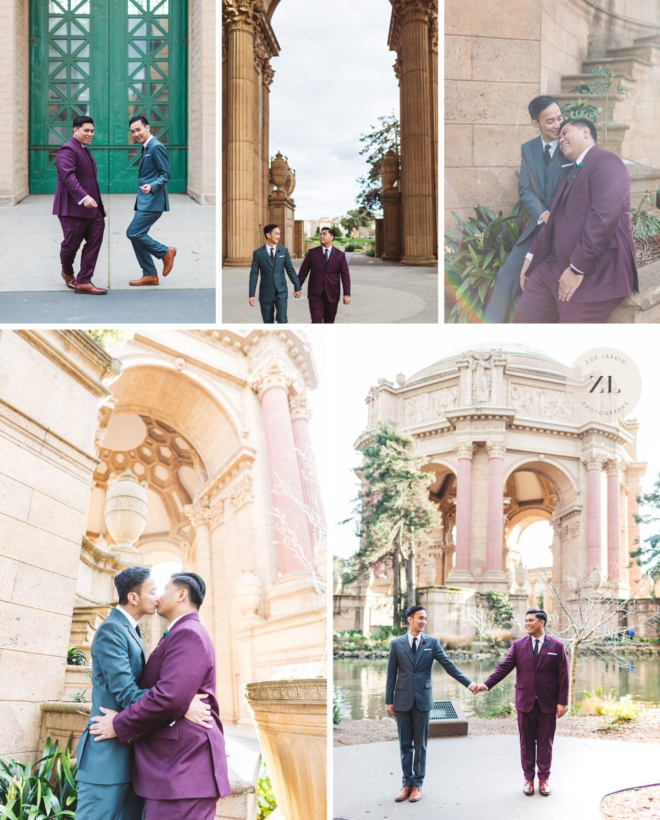 portraits showing different aspects of palace of fine arts after wedding ceremony