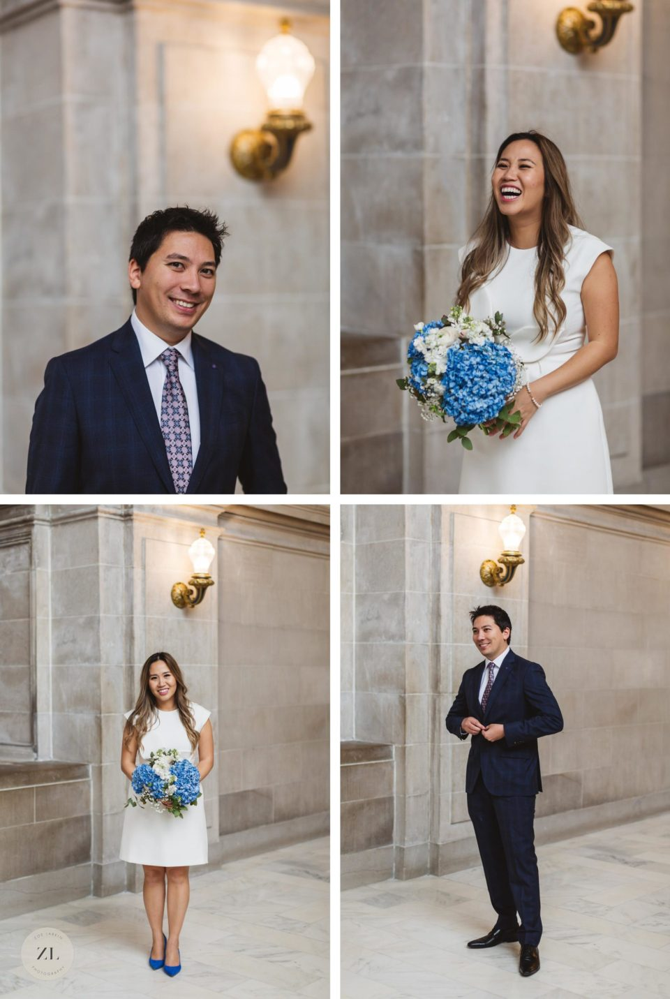 individual photos of bride and groom on 4th floor San Francisco City Hall wedding