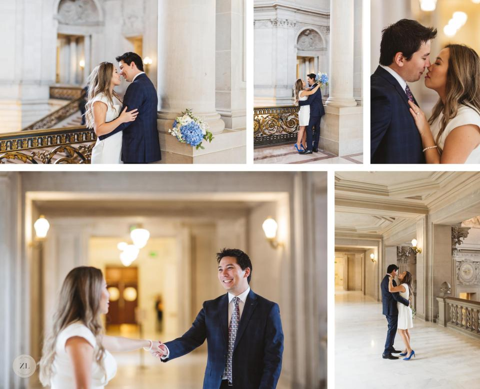 intimate couples photos at San Francisco City Hall wedding vietnamese couple