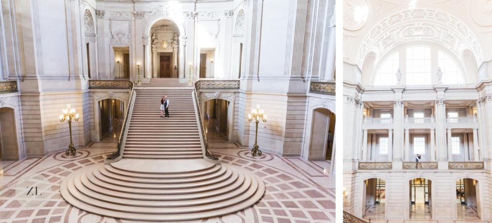 epic grand staircase shots at san francisco city hall