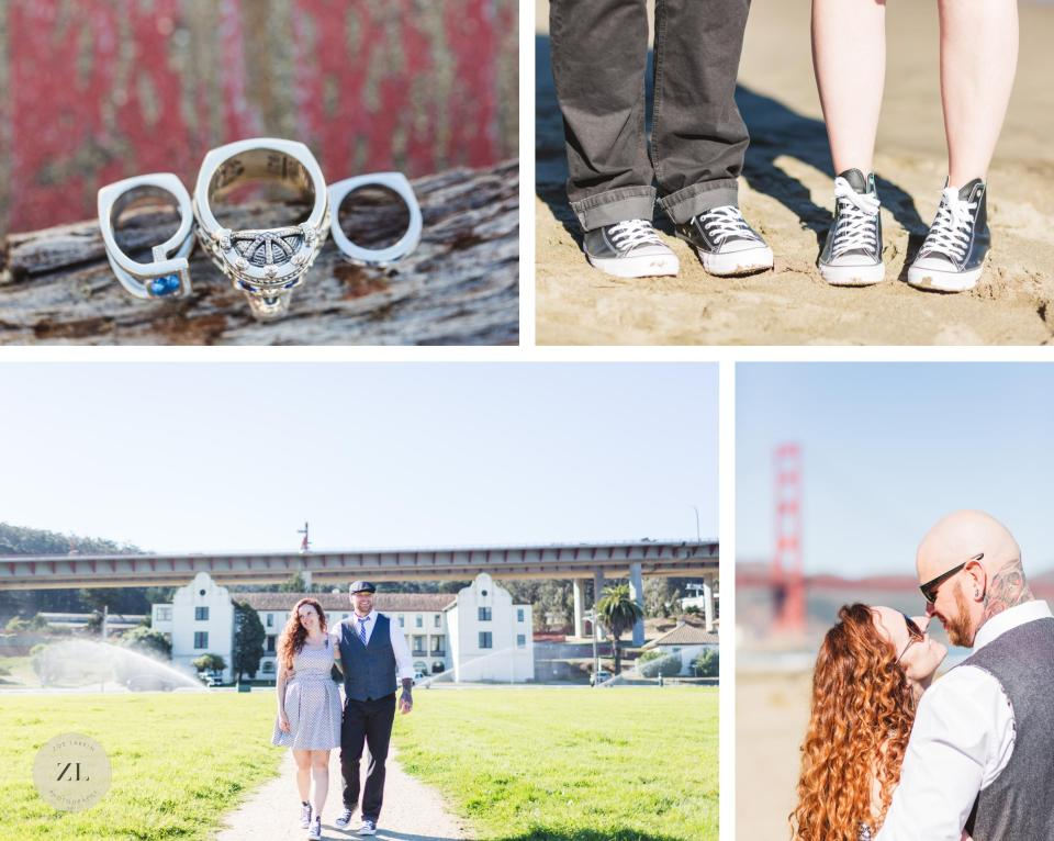 wedding details at san francisco elopement at golden gate bridge crissy field