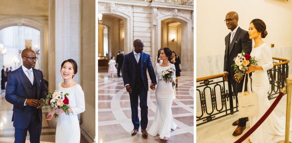 couple walking through city hall candid style before wedding