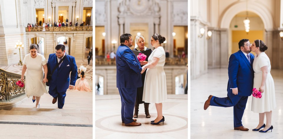 collage of elopement couple getting married at City Hall