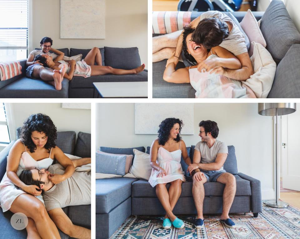 engagement photograph of couple canoodling and cuddling happily on their couch