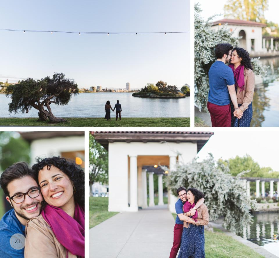 wide shots of lake merritt and engaged couple next to pergola at lake merritt