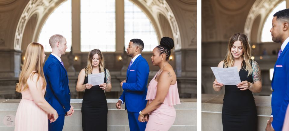 two grooms with two bridesmaids getting married on 4th floor of san francisco city hall