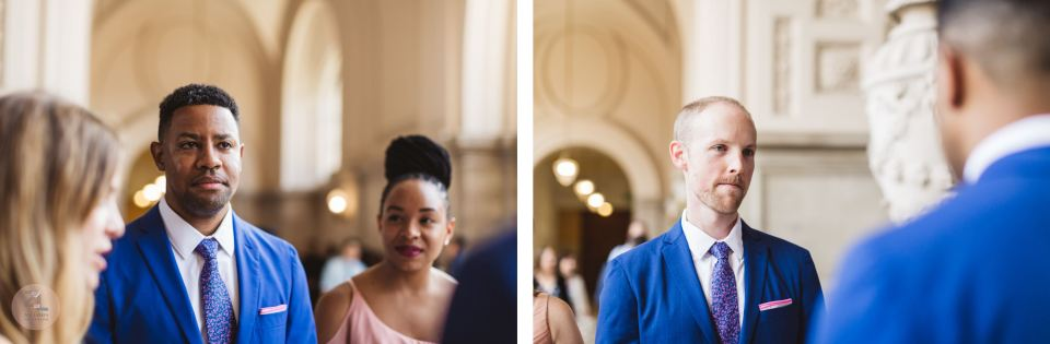close up photos of two grooms marrying wearing blue suits at sf city hall wedding