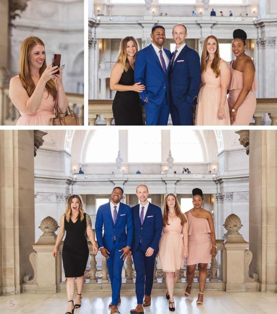 fun formal group photographs on 3rd floor of san francisco city hall after wedding