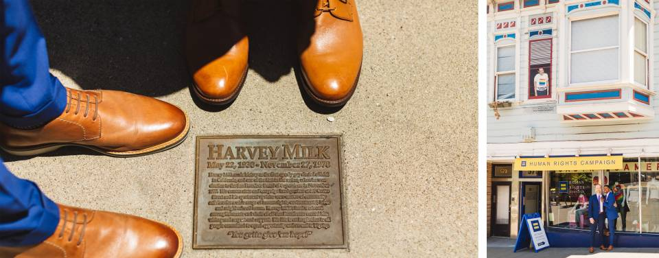 gay couple honoring harvey milk's residence in the castro district of san francisco