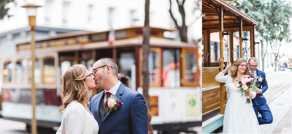 cable car wedding photos with trolley in background san francisco powell street
