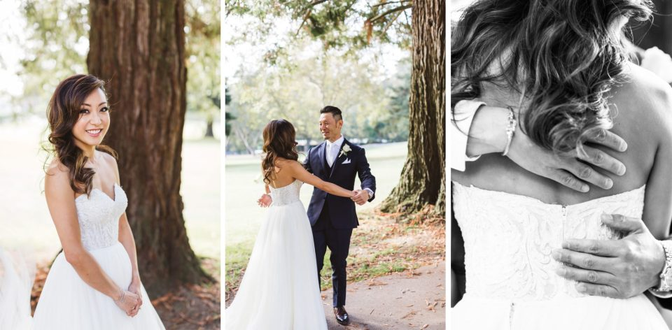A collage of three images of a wedding first look at Sequoyah Country Club wedding | How to choose your wedding photographer? Practical tips and my step by step guide
