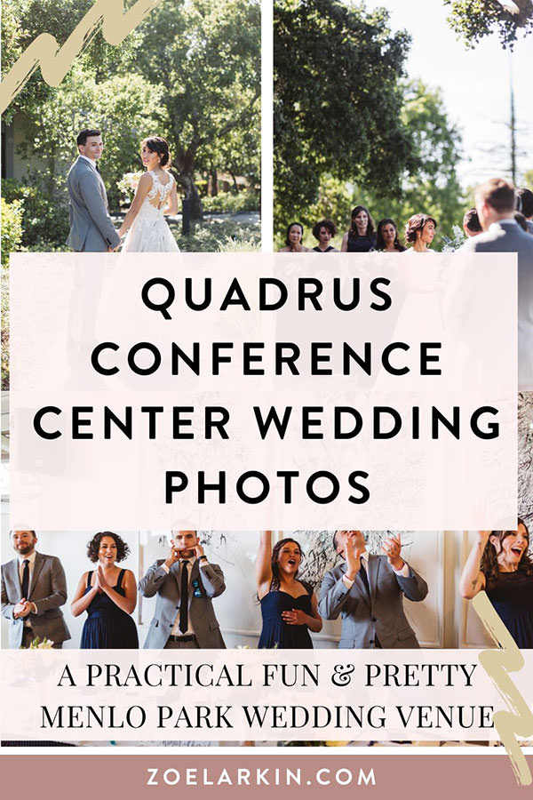 Looking for a Menlo Park wedding venue? This Quadrus Conference Center wedding has so much personality, style as well as a down-to-earth style. If you're looking for an affordable Bay Area wedding venue that also works well for achieving great wedding photos with amazing natural light, consider Quadrus Conference Center for weddings of up to approx 150 guests. The San Francisco peninsula has some absolute gems of a wedding venue! | #bayareawedding #weddingphotography | Zoe Larkin Photography