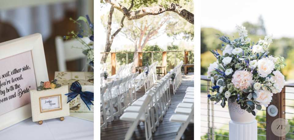 pretty wedding details at Menlo Park wedding including a display table, ceremony space and wedding florals