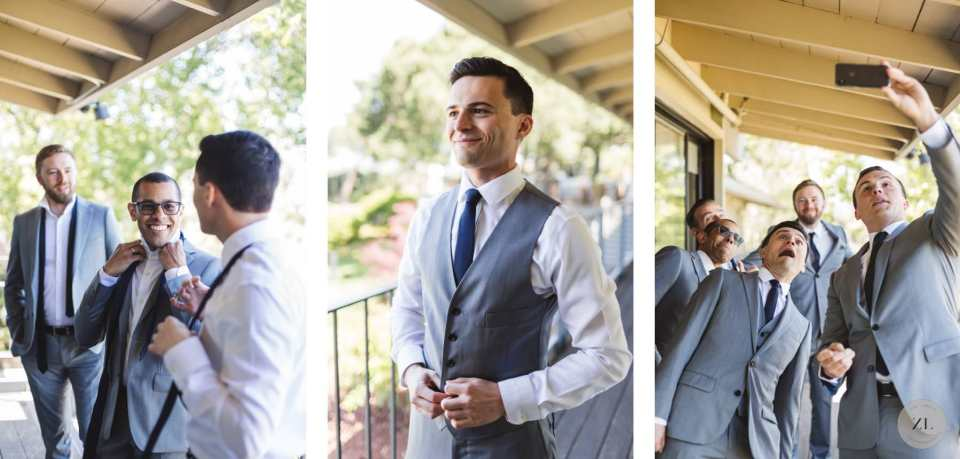dapper groom with groomsmen before his Menlo Park wedding at Quadrus Conference Center wedding | Zoe Larkin Photography