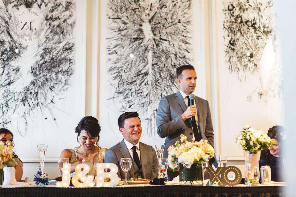 best man speech at menlo park wedding venue Quadrus Conference Center wedding